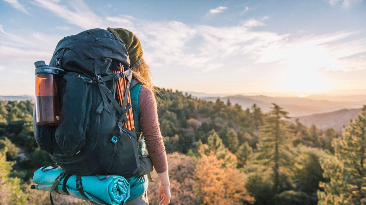 Vrouw met backpack in bossen