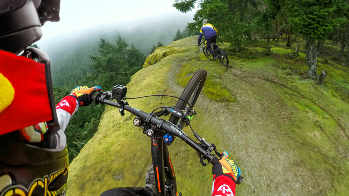 Mountainbiken gefilmd met een GoPro
